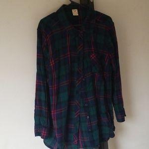 3x faded glory plaid cotton womens shirt
